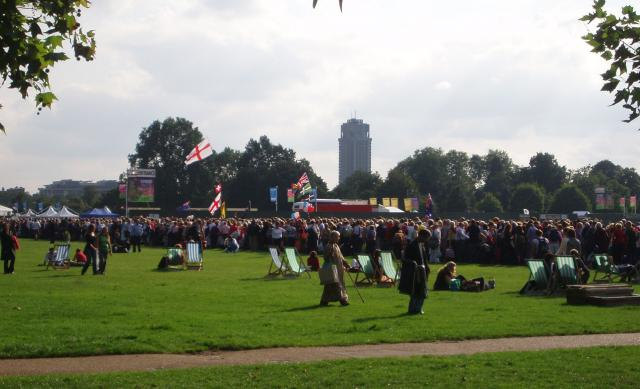 Queuing for 'Proms in the Park'